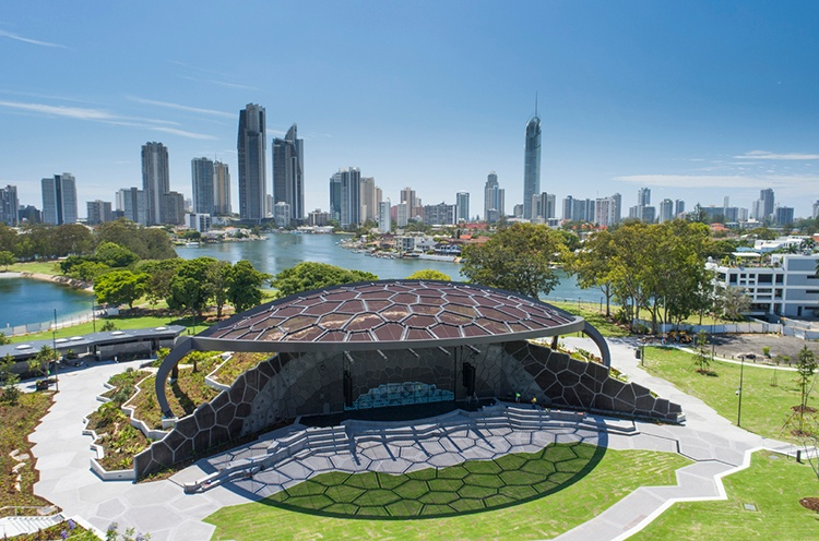 HOTA stage in front of Gold Coast City